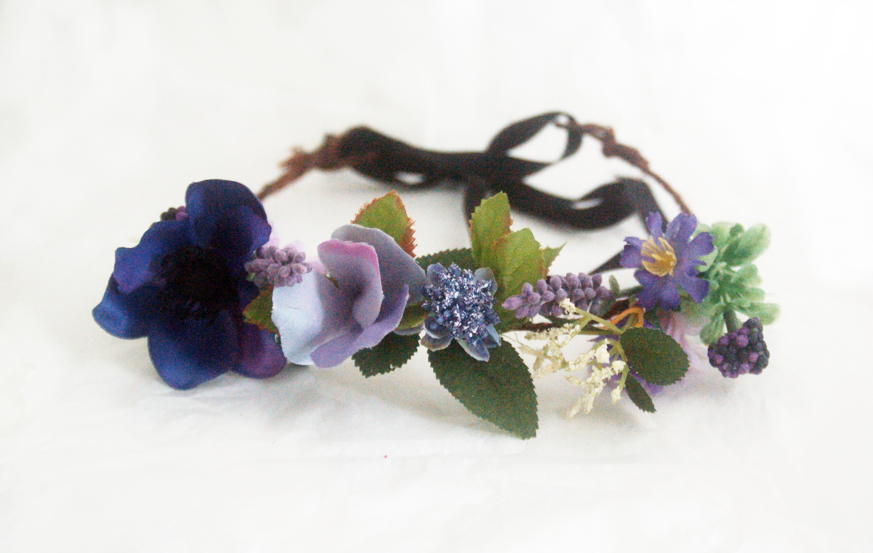 Purple And Green Flower Crown For Ceremony Wedding Adjustable