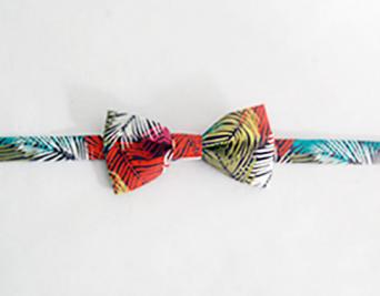noeud papillon enfant motif feuilles palmier multicolores
