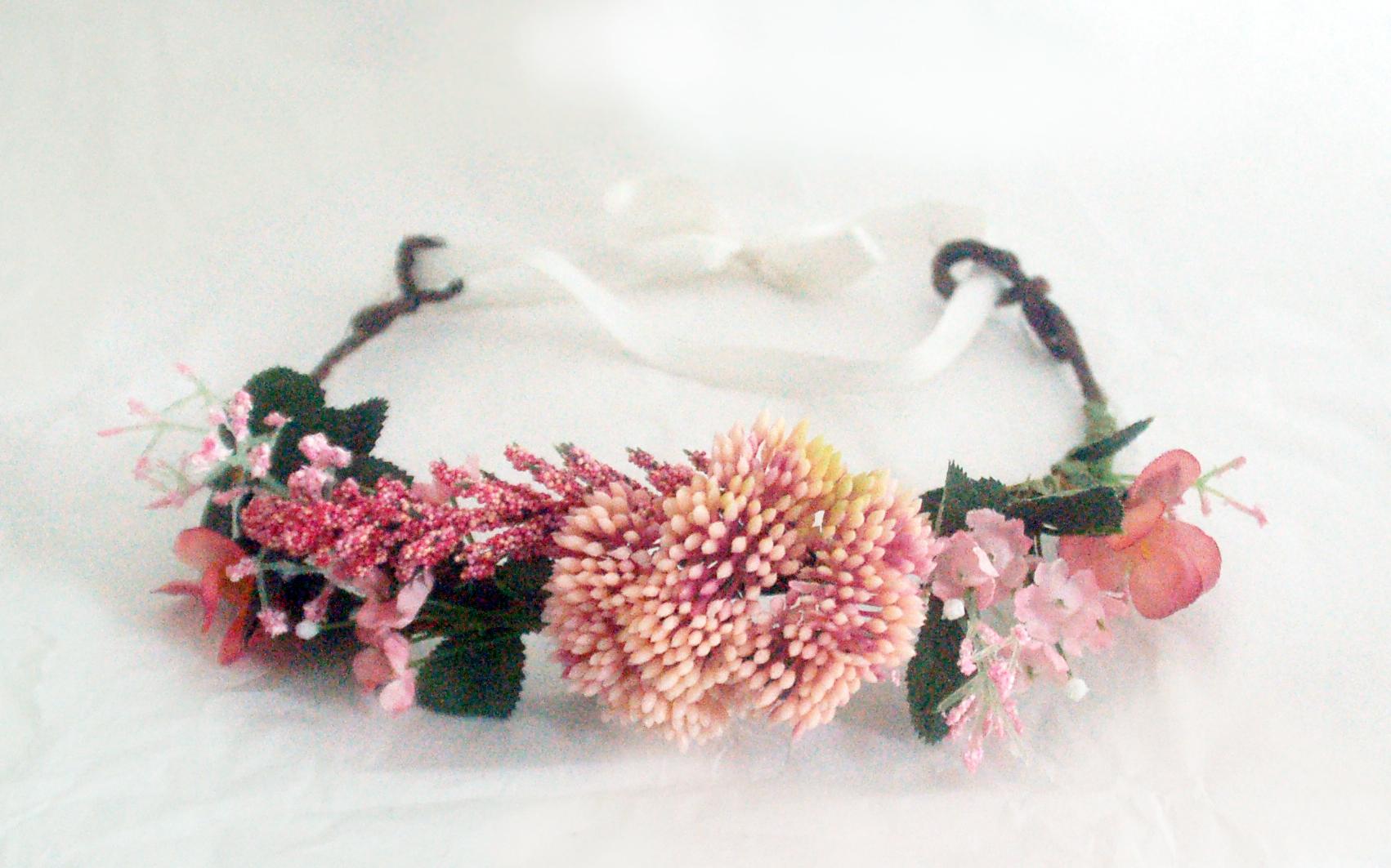 Couronne de fleurs rose et verte pour mariage c r monie demoiselle d 39 honneur anniversaire - Couronne fleurs mariee ...