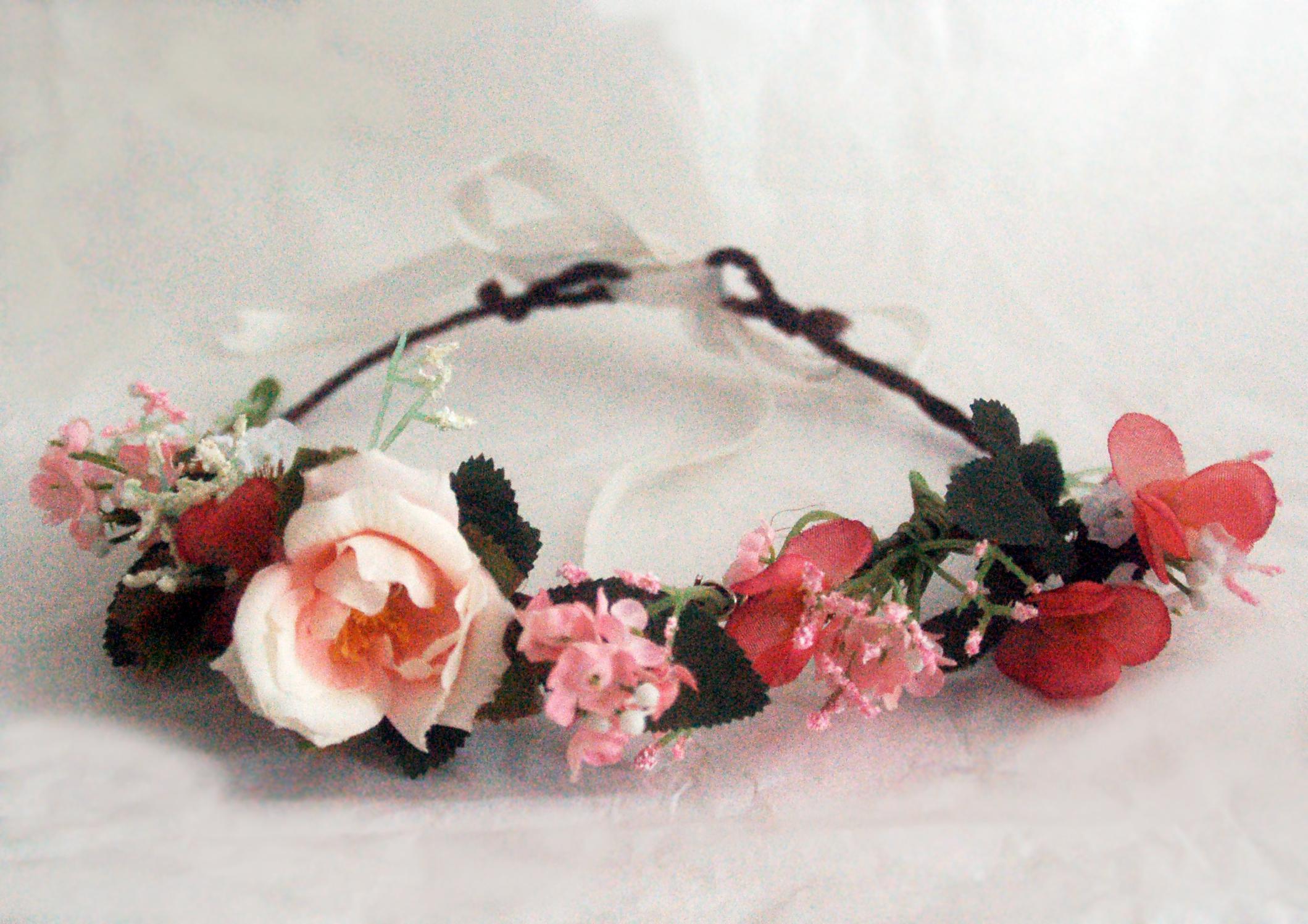 Couronne de fleurs j t accessories rose verte pour for Couronne de fleurs
